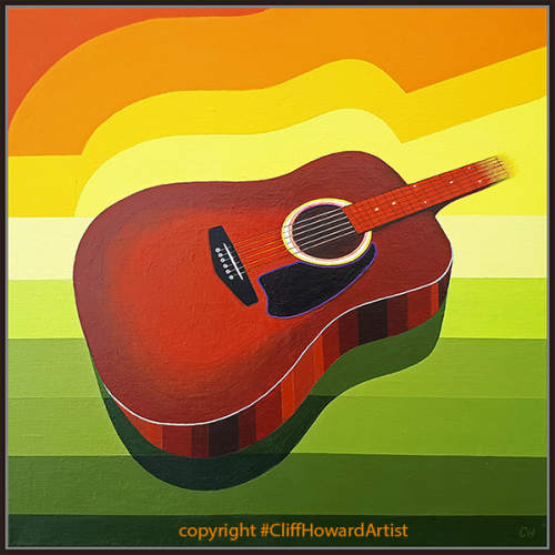 painting of accoustic guitar